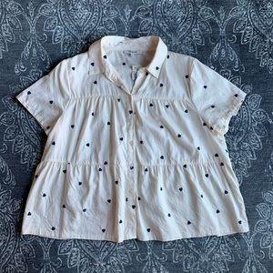 Madewell Heart Embroider Seamed Button Down Shirt